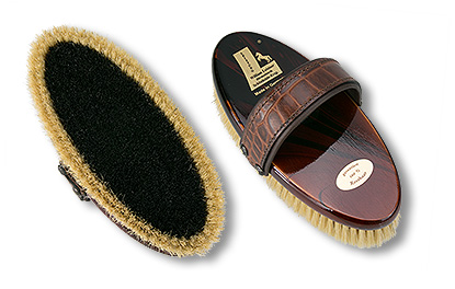 horse grooming brush with croco-leather-belt