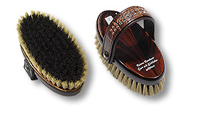 horse head brush with croco leather belt with Swarovski Elements